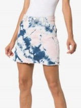 Ashley Williams Tye Dye Denim Mini-Skirt in blue and pink