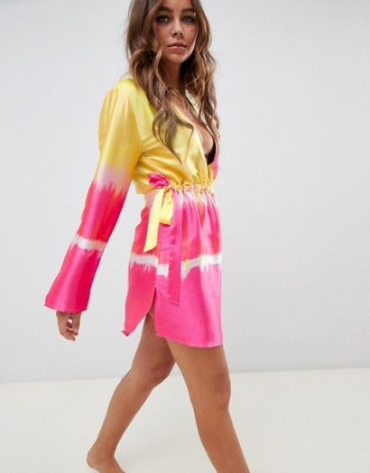 ASOS DESIGN channel waist beach cover up in ombre tie dye / bright beachwear