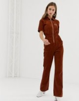 ASOS DESIGN cord 70s boilersuit with flare in chocolate-brown – retro corduroy fashion
