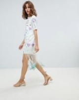 ASOS DESIGN Embroidered Midi Dress With Tie Dye Fringe in floral embroidery