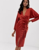 ASOS DESIGN midi dress with batwing sleeve and wrap waist in satin in rust | plunge front occasion dresses