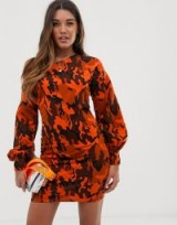 ASOS DESIGN off shoulder sweat dress with bell sleeve in orange camo print / bright camouflage prints