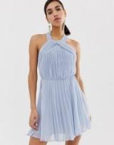ASOS DESIGN pleated bodice halter mini dress in pale-blue