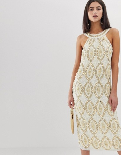 ASOS EDITION crystal and sequin halter midi dress ivory – occasion glamour