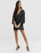 ASOS DESIGN Petite scatter sequin knot front kimono mini dress in black | plunging LBD