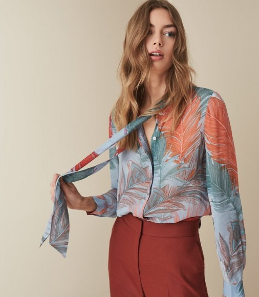 REISS ASTA FEATHER PRINTED BLOUSE ~ beautiful prints