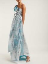 HALPERN Asymmetric metallic-silver plissé gown ~ blue chiffon underlay gowns