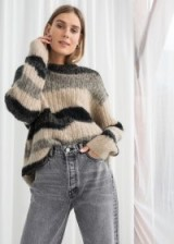 & other stories Asymmetric Striped Wool Blend Sweater | chunky & fluffy jumpers
