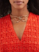 SONIA BOYAJIAN Audrey bow tie bronze necklace ~ statement choker necklaces