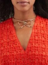 SONIA BOYAJIAN Audrey bow tie bronze necklace ~ statement choker necklaces