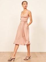 Reformation August Dress in Blush | low scoop neckline