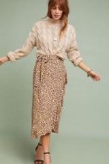 Faithfull Celeste Printed-Wrap Skirt in Brown Motif   leopard print skirts