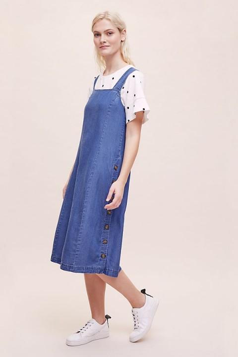 Kachel Nancy Chambray Dress in light-Blue | denim pinafore
