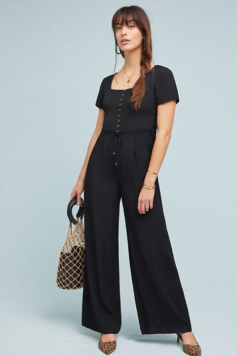 Maeve Shelby Jumpsuit in Black   side corset style ties