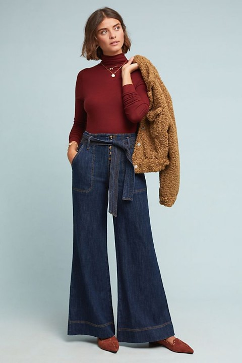 Pilcro Ultra High-Rise Wide-Leg Jeans in Denim Medium Blue   retro fashion