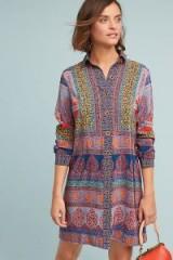 Maeve Casablanca Silk Shirtdress | luxe multi-print shirt dress