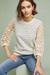 Amadi Daisy Lace Sweater in Neutral | sheer sleeved floral top | feminine fashion