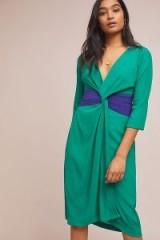 Moulinette Soeurs Sorley Twist-Front Dress in Green | deep V-neckline dresses