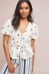 Anthropologie Embroidered Poplin Tie Waist Blouse in White | floral deep V-neck top