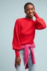 Line & Dot Sheridan Jumper in Raspberry | bright balloon sleeve sweater