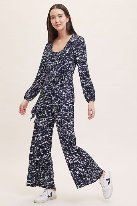 Kachel Printed Tie-Front Wide-Leg Jumpsuit in Black and White | monochrome jumpsuits