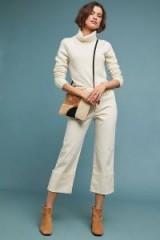 Pilcro High-Rise Slim Straight Jeans in Cream | neutral denim | cuffed cropped-hem