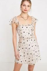 The East Order Sabina Mini Dress in White Multi | feminine flutter-sleeve ruffle trimmed dresses