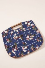 Anthropologie Ciao Bella Floral-Beaded Clutch in Navy | vintage style bags