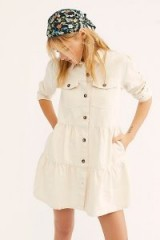 Free People Nicole Denim Shirt Dress in Ecru | tiered button down