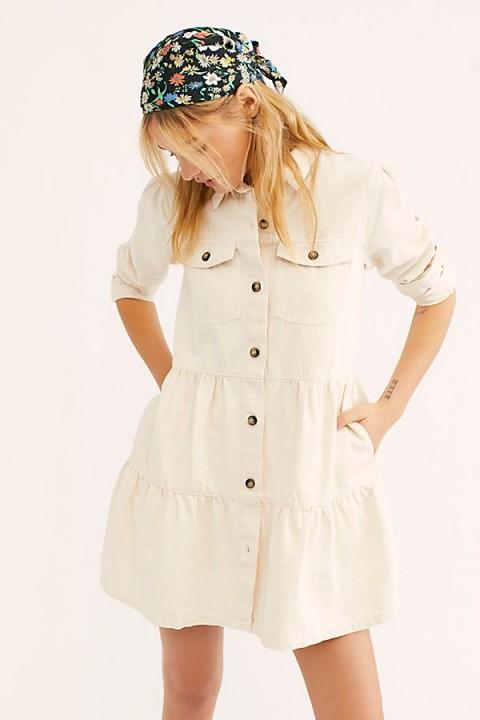 Free People Nicole Denim Shirt Dress in Ecru | tiered button down