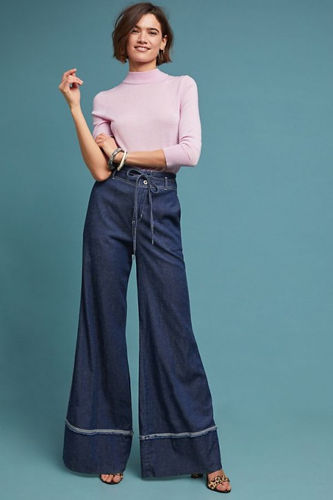 Pilcro Ultra High-Rise Wide-Leg Jeans in Denim Dark | extreme flares
