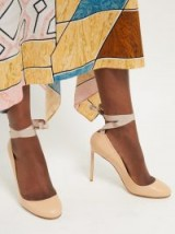 FRANCESCO RUSSO Ballet grosgrain ribbon leather pumps in beige ~ ankle wrap courts