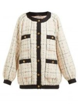 GUCCI Balloon-sleeve bouclé-tweed jacket in white ~ modern classic