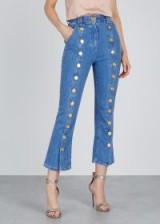 BALMAIN Blue buttoned cropped jeans | designer denim