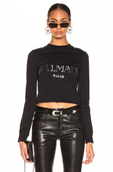 BALMAIN 3D Crop Top in noir & argent ~ cropped designer tee