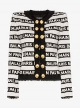 Balmain Stripe Print Button Down Jacket in White and Black – designer logo/brand print fashion