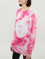 BALMAIN Tie-dye wool-blend jumper in pink and white / dyed knitwear