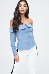 LAVISH ALICE bardot fold back top in dusty blue – off the shoulder evening tops