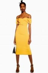 Topshop Bardot Wrap Midi Dress in Orange | vintage style off shoulder dresses