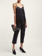 KOCHÉ Beaded black cotton-jacquard trousers ~ embellished cropped pants