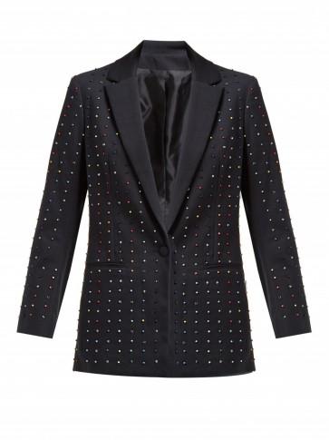 KOCHÉ Bead-embellished cotton-blend blazer in black ~ beaded jackets