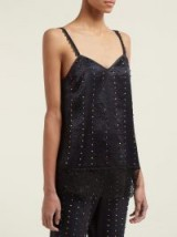 KOCHÉ Bead-embroidered lace and satin cami top in black ~ beaded camisole