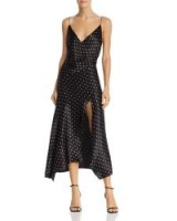 Bec & Bridge Kylie Polka Dot Midi Dress in Pink Dot ~ floaty front split dresses