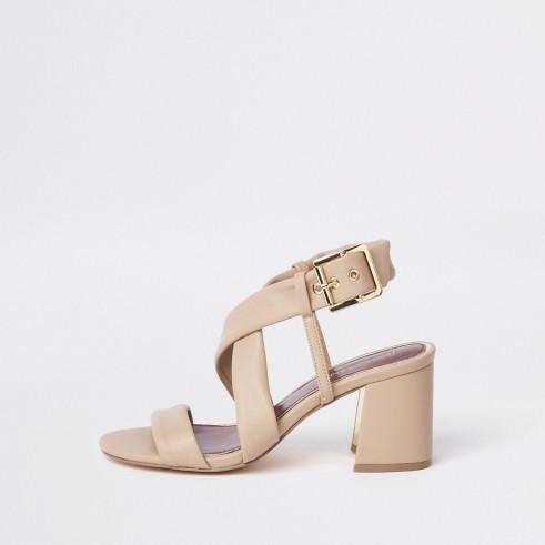 RIVER ISLAND Beige cross strap block heel sandals ~ chunky heels