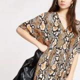 RIVER ISLAND Beige snake print swing dress ~ animal prints