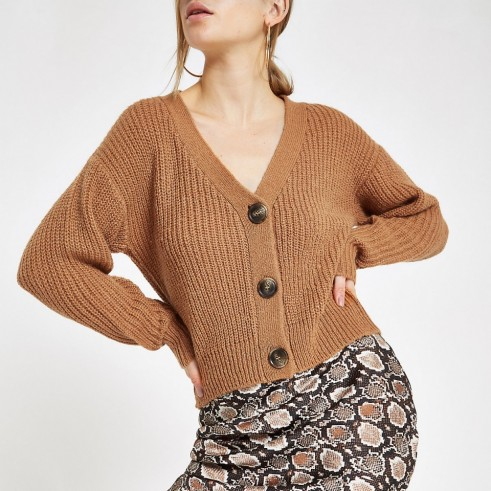 RIVER ISLAND Beige V neck button cardigan ~ light-brown cardi