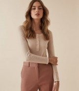 REISS BELLA GRANDAD JUMPER PALE PINK ~ wardrobe essential