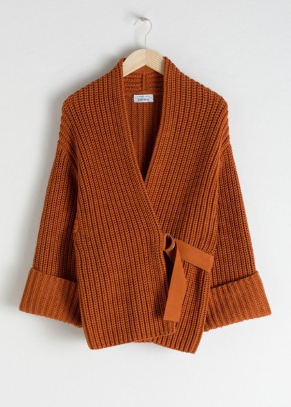 & other stories Belted Cardigan in Rust ~ orange-brown oversized cardi