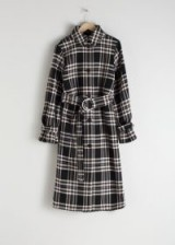 & other stories Belted Plaid Trench Coat | belted cuffs | checks coats