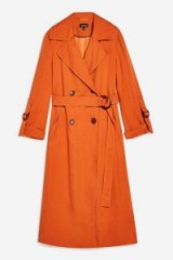 Topshop Belted Trench Coat in Rust